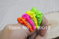 Free shipping mini  order 15$  Punk style double skull Vintage alloy rings+popular fluorescence color skeleton rings