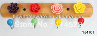 new design wood four hooks with colored ceramic flowers and knobs ball coat rack clothes hanger towel hook wholesale YJ4101