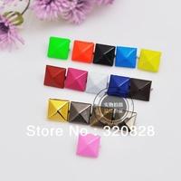 Free shipping 500pcs 0.9cm square  mix colorful Brads DIY handicraft material scrapbooking embellishments craft nail metal brads