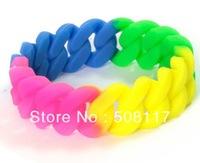 fedex Free shipping 500PCS/lot 2013 trendy rainbow colour bracelet,silicone bracelet rainbow,has stock