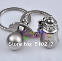 free ship new 234pcs bottle & nipple Alloy key chain creative couple lovers key ring advertising gift keychain can custom logo