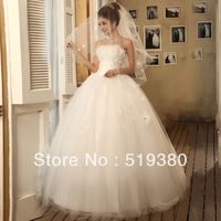 2013 new arrival,Korean beautiful embroidered lace strapless wedding dress, ladies white floor-length wedding address