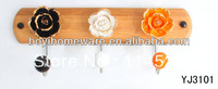 new design wood three hooks with colored ceramic flowers and knobs ball coat rack clothes hanger towel hook wholesale YJ3101