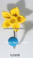 new design single hook with colored ceramic flower and knob ball coat hook coat hanger towel hook wholesale YJ1076