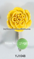new design single hook with colored ceramic flower and knob ball coat hook coat hanger towel hook wholesale YJ1048