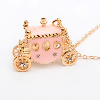 Min Order $10(mix order)Free Shipping! Wholesale Fashion Jewelry Retro sweet pink Cubic Zircon diamond necklace pumpkin car A256