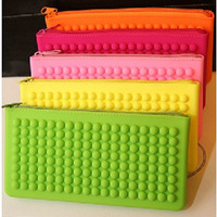 The Candy color Silicone Coin purses Cell Phone Pocket Lovely Fluorescent  Zipper Wallets Free Shipping