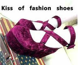 Free Shipping European style New Women's Vintage Sweet Gold Velvet Cross Straps Platform Shoes 3Colors In Stock(China (Mainland))