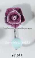 new design single hook with colored ceramic flower and knob ball coat hook coat hanger towel hook wholesale YJ1047