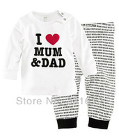 baby suits Cotton Children Pajamas I love Mom Dad baby Pajamas long sleeve suits kids home suits