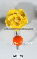 new design single hook with colored ceramic flower and knob ball coat hook coat hanger towel hook wholesale YJ1078