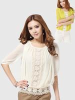 New Fashion Lace Blouse Women Clothing 2013 White/Yellow Color Lace Blouses Chiffon Shirt Women Loose Tops Shirt + Free Shipping