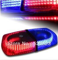 Free Shipping  RED & BLUE Emergency Hazard Warning 240 LEDs Mini bar Strobe Flash Light w/ Magnetic Base DC 12V