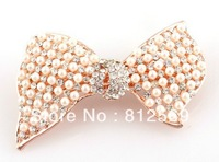 Free ship, B284 Crystal girl hair Barrettes golden pearl bow pearl 6x3cm rhinestone hairpins women hair jewelry Austrian style