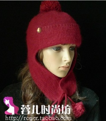 2010 ear protector cap . rabbit fur women's autumn and winter cashmere knitted hat knitted hat . casual(China (Mainland))