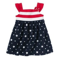 2013 summer dress kids girls beautiful dress star bow striped suspender