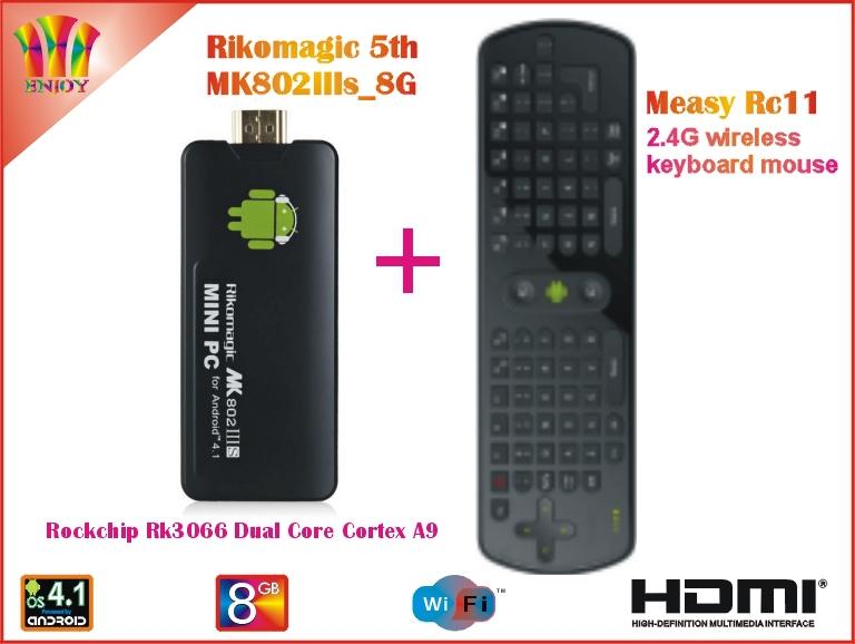 Rikomagic 5th MK802IIIs Android 4.1 PC TV Box RK3066 Cortex A9 1GB/8G [MK802IIIs/8G] + Measy RC11 Air Mouse(China (Mainland))
