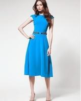 Ladies Fashion Vintage Designer Knit Blue Apparel Mid-calf Novelty the Elegant Dress Free Shipping LY121449