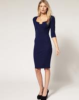 Free Shipping New Arrival Spring Autumn Brand vintage Dress Plus Size Elegant Pencil Half Sleeve Blue Fashion Dresses LY121447