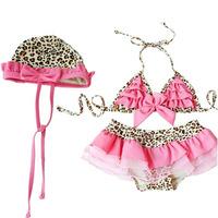 2014 HOT Cute swimwear kids bathing suit Pink Leopard print Bikini layered dress for Girls  kids cap swimsuit Free Shipping