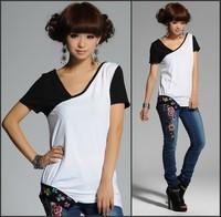 2014 new V-neck slanting lapel embroidered t shirt irregular pleated hem Spliced female T-shirt cotton ,clearance tiems