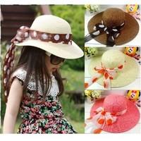 Child strawhat bow ribbon large brim hat sun-shading beach cap female child sun-shading hat