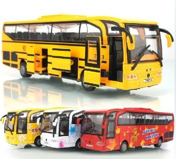 Large travel bus alloy big school bus the door 5 model toys