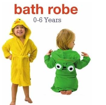 Child Bath robe! Animal style Hooded children Bathrobe, Baby Bath Towel, Cotton kids cartoon bathing suit