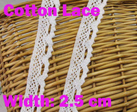 10 meters/ lot 100% cotton 2.5cm width Lace for fabric/home furnishing  warp knitting DIY Garment Accessories free shipping#1239