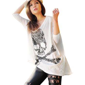 Luna original design women's perfume skull spring and summer long design t-shirt tx00408