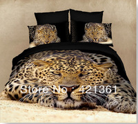 3d bedding sets  100% cotton   Quilt cover /Bed Sheet/pillowcases   king/queen size bedclothes   Cloud leopard(4)86