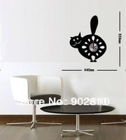[listed in stock]-44x56cm DIY cartoon black cat art stickers wall clocks (movement included)