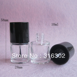 Free Shipping- 20/lot 10ml Empty Nail polish Bottle,10ml glass bottle with brush cap(China (Mainland))