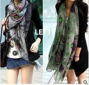 Autumn and winter begonia flower scarf women's fluid sunscreen long cape muffler scarf fluid