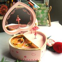freeshipping Gift beautiful love jewelry box rotating ballet girl makeup mirror music box