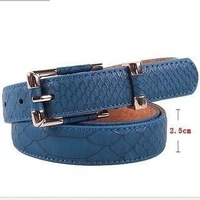 Thin snake print all-match decoration leather strap belts for women, free shipping
