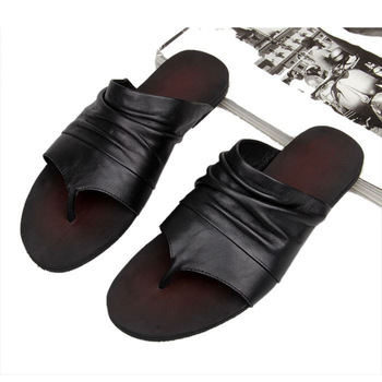 Genuine leather slippers male sandals flip flops shoes men's sandals