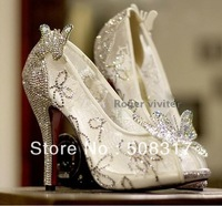 2013 New Arrival Cinderella's Glass Slipper Sliver crystals sparkling butterflies Red Bottom beauty Prince Wedding Shoes