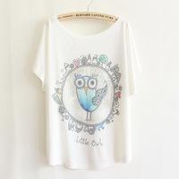 Fashion Women Beaded Loose Bat White Short-Sleeve T-shirt women's clothing free shipping t-shirts 003