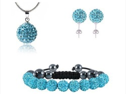SHAMBALLA CRYSTAL NECKLACE PENDANT &amp; STUD EARRINGS BRACELETS SET JEWELLERY SET NEW ARRIVEL FREE SHIPPING WHOLESALE(China (Mainland))
