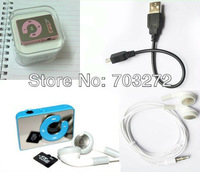 1set/lot !Newest Mini Sport Mirror clip MP3 Player 6 Colors Support 1-8GB micro SD card+earphone+usb cable free dropshipping