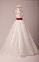Custom Made Real Image Ball Gown Sweetheart Sleeveless Beaded Sequins Applique Zipper Taffeta Burgundy And White Wedding Dress