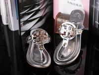 2015 bling bling Women's Summer sandals flat beach Flip flops Fashion Brand new shoes slipper genuine leather Free Shipping