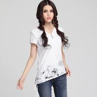 Clearance 2014 summer irregular print drawstring slim t-shirt ,V-neck short-sleeve T-shirt Chinese national&fashion style