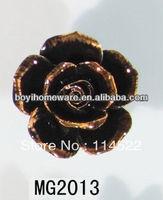 new design black ceramic flower knobs with gold edge cabinet pull kitchen cupboard knob kids drawer knobs MG2013