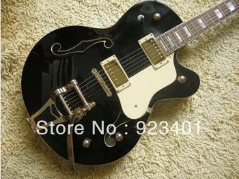 New (black) 2pickups electric guitar with white pickguard and black rear plate OEM