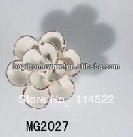 new design white ceramic flower knobs with gold edge cabinet pull kitchen cupboard knob kids drawer knobs MG2027
