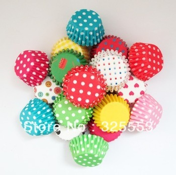 2013 promotion! 100pcs, mixed mini size paper cupcake liner,muffin case, cake case cake tool party decoration tool