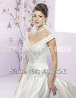 New Elegant White/Ivory v-neck satin Bridal Dress Wedding Dress Gown Custom Size Free Shipping