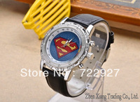 New store opening!Hot!Free shipping new fashion superman watch unisex casual watch set with diamonds, couple gifts!